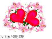 Купить «Сердечки на фоне лилий», фото № 686859, снято 21 марта 2019 г. (c) Елена Блохина / Фотобанк Лори
