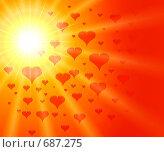 Купить «Абстракция с красными сердцами», иллюстрация № 687275 (c) ElenArt / Фотобанк Лори