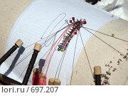 Купить «Плетение кружев на коклюшках.Крупно.», фото № 697207, снято 18 мая 2007 г. (c) Gagara / Фотобанк Лори