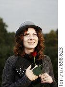 Купить «Девушка с цветком», фото № 698623, снято 20 сентября 2008 г. (c) Лариса Фокина / Фотобанк Лори