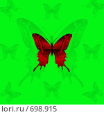 Купить «Красная бабочка на зеленом фоне», иллюстрация № 698915 (c) Анжелика Самсонова / Фотобанк Лори