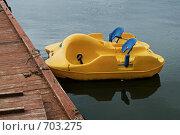 Жёлтый катамаран на причале. Стоковое фото, фотограф Синюков Пётр Львович / Фотобанк Лори