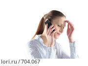 Купить «Девушка разговаривает по мобильному телефону», фото № 704067, снято 24 января 2009 г. (c) Наталья Белотелова / Фотобанк Лори