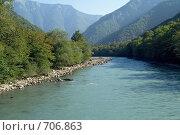 Купить «Кавказские горы. Река Бзыбь», фото № 706863, снято 9 августа 2008 г. (c) Татьяна Нафикова / Фотобанк Лори