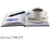 Купить «Открытый ежедневник,чашка кофе и экономические  цветные графики», фото № 708371, снято 11 января 2009 г. (c) Vitas / Фотобанк Лори