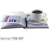 Купить «Открытый ежедневник, чашка кофе и экономические  цветные графики», фото № 708387, снято 11 января 2009 г. (c) Vitas / Фотобанк Лори