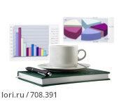 Бизнес-ежедневник,чашка кофе и экономические цветные графики на заднем фоне. Стоковое фото, фотограф Vitas / Фотобанк Лори