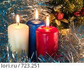 Купить «Три горящих свечи. Новогодняя тема», фото № 723251, снято 25 февраля 2009 г. (c) Кирпинев Валерий / Фотобанк Лори