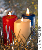 Купить «Три горящих свечи. Новогодняя тема», фото № 723259, снято 26 февраля 2009 г. (c) Кирпинев Валерий / Фотобанк Лори