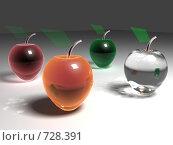 Стеклянные яблоки вид сбоку. Стоковая иллюстрация, иллюстратор Николай Казаков / Фотобанк Лори