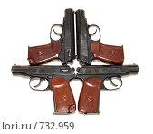 Купить «9-мм пистолеты на белом фоне», фото № 732959, снято 4 марта 2009 г. (c) FotograFF / Фотобанк Лори
