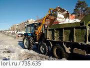Уборка снега. Стоковое фото, фотограф Дмитрий Лемешко / Фотобанк Лори