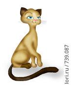 Купить «Сиамская кошка сидит», иллюстрация № 739087 (c) Лена Кичигина / Фотобанк Лори