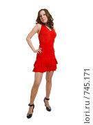 Купить «Девушка в красном платье», фото № 745171, снято 21 февраля 2009 г. (c) Виктория Кириллова / Фотобанк Лори