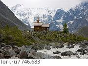 Купить «Православная деревянная часовня в горах на Алтае», фото № 746683, снято 23 июля 2008 г. (c) Max Toporsky / Фотобанк Лори