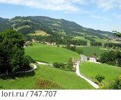 Купить «Вид на Альпы из знаменитой швейцарской деревушки Грюйер, родины швейцарского сыра», фото № 747707, снято 25 июля 2008 г. (c) Светлана Кудрина / Фотобанк Лори