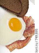Купить «Завтрак: яичница с беконом и хлеб», фото № 749895, снято 3 марта 2009 г. (c) Лисовская Наталья / Фотобанк Лори