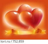 Купить «Композиция из красных сердец с оранжевой ленточкой», иллюстрация № 752859 (c) Лилия / Фотобанк Лори