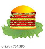 Купить «Бургер», иллюстрация № 754395 (c) Алексей Лебедев-Реллер / Фотобанк Лори