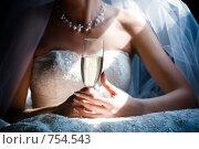 Купить «Невеста с бокалом шампанского», фото № 754543, снято 5 сентября 2008 г. (c) Фадеева Марина / Фотобанк Лори