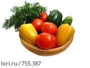 Купить «Свежие овощи в плетеной корзинке», фото № 755387, снято 16 марта 2009 г. (c) Анастасия Семенова / Фотобанк Лори