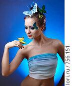 Девушка с бабочками. Стоковое фото, фотограф Serg Zastavkin / Фотобанк Лори