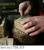 Купить «Руки мастера по шкатулкам», фото № 758311, снято 22 января 2009 г. (c) Анна Мегеря / Фотобанк Лори
