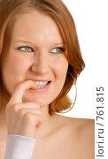 Девушка кусает ногти. Стоковое фото, фотограф Олег Кириллов / Фотобанк Лори