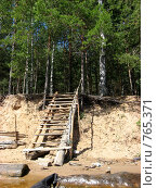 Купить «Лестница в лес на берегу реки», фото № 765371, снято 21 июня 2008 г. (c) Дубинин Дмитрий / Фотобанк Лори