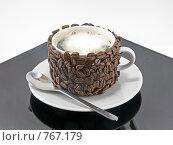 Купить «Оригинально декорированная чашка, кофе со сливками», фото № 767179, снято 2 января 2009 г. (c) Vitas / Фотобанк Лори