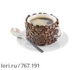 Купить «Оригинально декорированная чашка с горячим кофе. Изолировано от фона.», фото № 767191, снято 2 января 2009 г. (c) Vitas / Фотобанк Лори