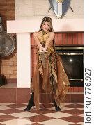 Купить «Девушка с мечом», фото № 776927, снято 8 февраля 2009 г. (c) Евгений Батраков / Фотобанк Лори