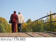 Купить «Пожилая пара на мосту», фото № 778883, снято 27 июня 2019 г. (c) Losevsky Pavel / Фотобанк Лори