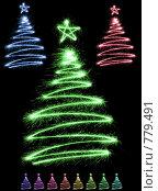 Купить «Разноцветные елки из искр», фото № 779491, снято 16 декабря 2018 г. (c) Losevsky Pavel / Фотобанк Лори