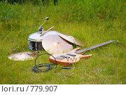 Купить «Музыкальные инструменты на траве», фото № 779907, снято 22 октября 2019 г. (c) Losevsky Pavel / Фотобанк Лори