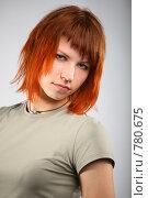 Купить «Портрет рыжеволосой девушки на сером фоне», фото № 780675, снято 15 декабря 2018 г. (c) Losevsky Pavel / Фотобанк Лори