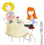 Купить «Две девушки в кафе», иллюстрация № 785539 (c) Даша Богословская / Фотобанк Лори