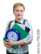 Купить «Бизнесвумен с деловыми бумагами и часами», фото № 792639, снято 6 февраля 2009 г. (c) Ольга Красавина / Фотобанк Лори