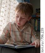 Купить «Мальчик с книгой у окна», эксклюзивное фото № 796239, снято 8 апреля 2009 г. (c) Алина Голышева / Фотобанк Лори