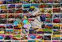 Детские вкладыши от жевательной резинки выложены на поверхности, фото № 796915, снято 7 апреля 2009 г. (c) Кекяляйнен Андрей / Фотобанк Лори