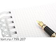Купить «Чистая тетрадь и перьевая ручка на белом фоне», фото № 799207, снято 3 марта 2009 г. (c) Мельников Дмитрий / Фотобанк Лори