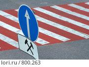 Купить «Дорожный знак над переходом», фото № 800263, снято 22 августа 2007 г. (c) Юрий Синицын / Фотобанк Лори