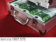 Купить «Металлический чемоданчик полный банкнот по сто евро», фото № 807575, снято 13 апреля 2009 г. (c) Игорь Соколов / Фотобанк Лори