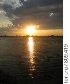 Закат на озере. Стоковое фото, фотограф Александр Патрушев / Фотобанк Лори