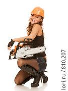 Купить «Девушка с пилой», фото № 810207, снято 28 марта 2009 г. (c) Валентин Мосичев / Фотобанк Лори