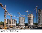 Купить «Строительство многоэтажных домов», фото № 811555, снято 20 августа 2019 г. (c) Losevsky Pavel / Фотобанк Лори