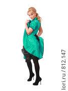 Купить «Блондинка в зеленом платье», фото № 812147, снято 13 декабря 2008 г. (c) Losevsky Pavel / Фотобанк Лори
