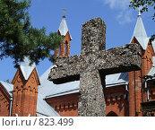 Купить «Крест на фоне церкви», фото № 823499, снято 25 июля 2008 г. (c) Андрей Шуленко / Фотобанк Лори