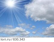 Купить «Облака и лучи», фото № 830343, снято 16 сентября 2019 г. (c) ElenArt / Фотобанк Лори
