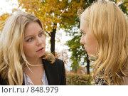 Купить «Девушки разговаривают», фото № 848979, снято 6 октября 2008 г. (c) Михаил Лавренов / Фотобанк Лори